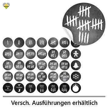24 Adventskalender Zahlen + 11 Motive | Selbstklebend | Kreidetafel /  Schultafel Look | Strichliste