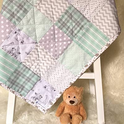 Neutral Baby Quilt Handmade Shower Gift for New Mom Mint and Gray Nursery
