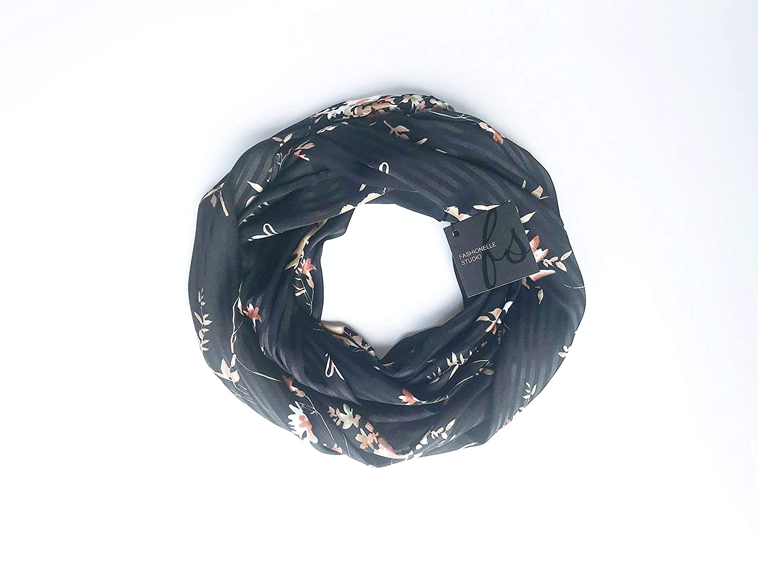 Black and Gold Scarf Satin Scarf Shiny Floral Infinity Scarf For Women Christmas Gift For Mom