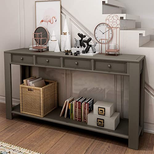 P PURLOVE Console Table for Entryway Hallway 64 Long Sofa Table with Storage Drawers and Bottom Shelf Khaki