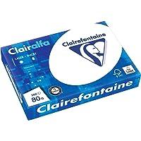 Clairefontaine 1979C Papier d'impression opaque Clairalfa (500 feuilles, A4, 21 x 29,7 cm, 80 g, idéal pour les impressions et les impressions de tous les jours) Blanc