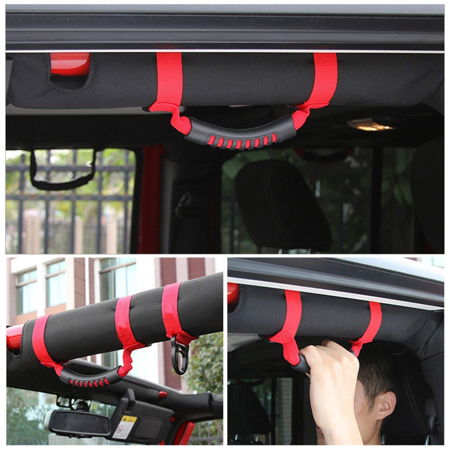 Jenaka 4 pack-Red Roll Bar Heavy Duty Grab Handle with Adjustable Straps for Jeep Wrangler YJ TJ JK JL Sports Sahara Freedom Rubicon X Unlimited 1955-2018