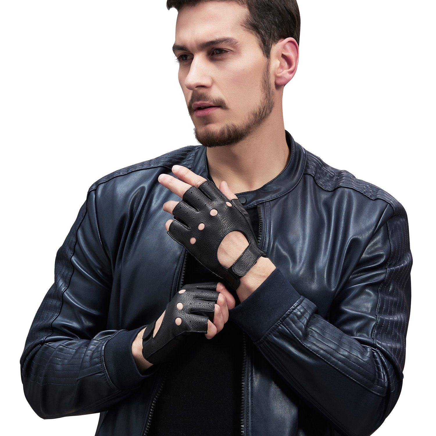 GSG Mens Perforated Knuckle Fingerless Motorcycle Gloves Black Deerskin Half Finger Driving Gloves Backless Nice Gifts 9.5