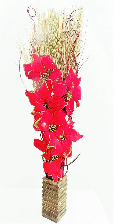 Lumineux Rouge Poinsettia de Noël Composition florale. Fleurs Artificielles en soie et indien d'herbe sèche. gratuit Wood Vase. 20lampes LED et 3piles AA incluses. Hauteur: 95–100cm (0, 9m). Link Products