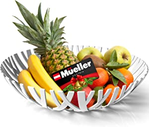 Mueller Fruit Basket, Decorative Fruit Bowl, Fruit and Vegetables Holder for Counters, Kitchen, Countertop, Home Decor, European Made, White
