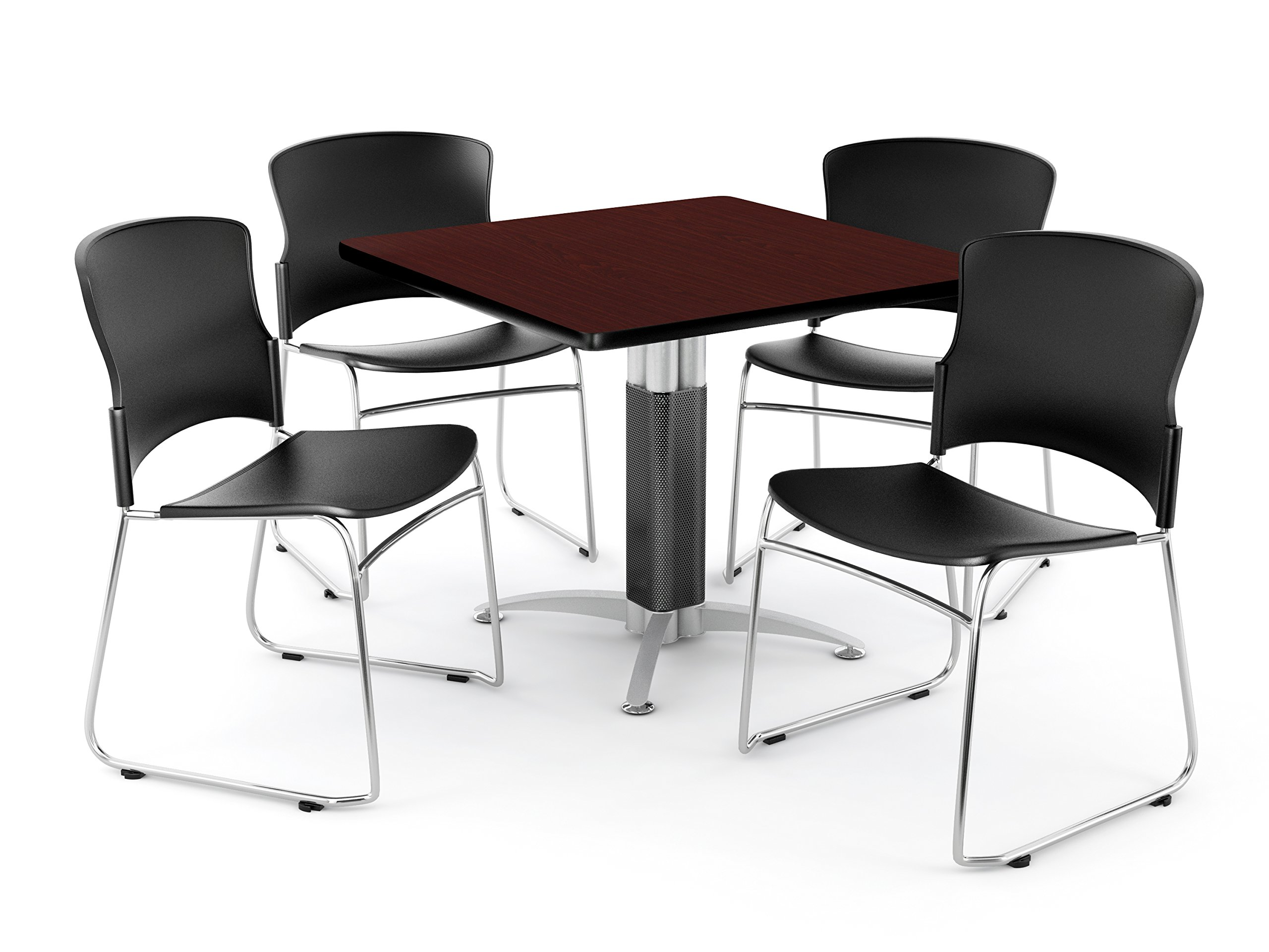 OFM PKG-BRK-028-0010 Breakroom Package, Mahogany Table/Black Chair