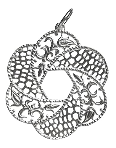 Córdoba Jewels | Colgante en Plata de Ley 925. Diseño Flor Filigrana: Amazon.es: Joyería