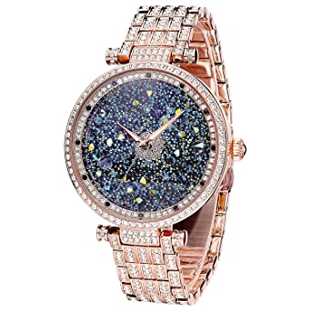 PB Ladies Diamond Watches Rose Premium Austria Crystal Accented & Platinum Plated Stainless Steel Watch Band