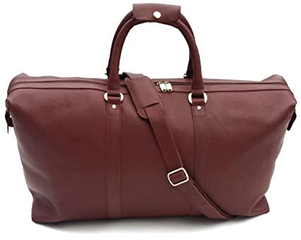 Leather weekend bag Luxury high Quality large Cherry Brown Style Leather  Duffel Travel Bag Weekend Bag 9511baff4fe3a