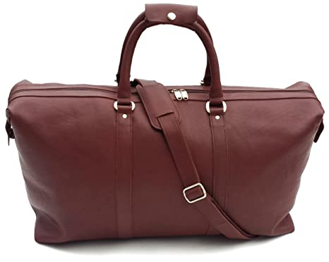 173d25f680 Leather weekend bag Luxury high Quality large Cherry Brown Style Leather  Duffel Travel Bag Weekend Bag