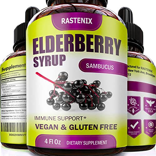 Sambucus Elderberry Syrup 4 oz – Health Support with Antioxidants – Sugar-Free Black Elderberry Extract Liquid for Kids Adults – Vegan – Easy Absorption – Made in USA