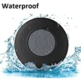 Sudroid Portable Waterproof Shower Speaker Bluetooth 3.0 with Built-in Mic Powerful for Pool Boat Beach Hiking Camping (Black)