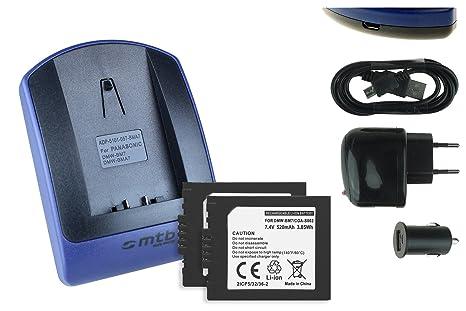 2 Baterìas + Cargador (USB/Coche/Corriente) para Panasonic ...