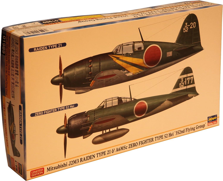 2 Baus/ätze Mitsubishi J2M3 Raiden und Zero Fighter Hasegawa 01989