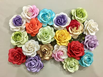 Amazon Com Icrafy 10 Assorted Pastel Rose Mulberry Paper Flower