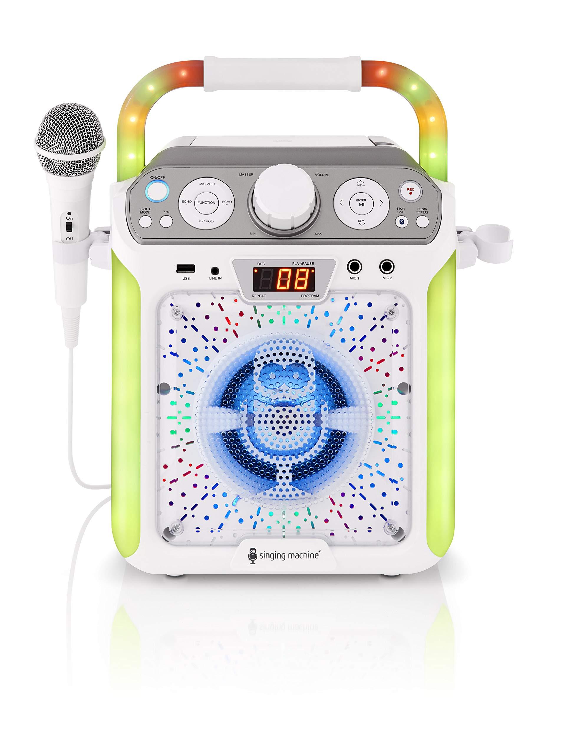 Singing Machine SML682BTW Groove Cube CDG Karaoke System, White (