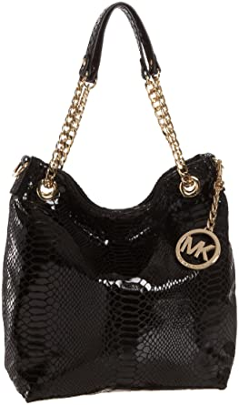 8dc9d662d99e MICHAEL Michael Kors Jet Set Patent Python Chain Medium Shoulder  Tote,Black,one size