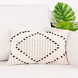Lahome Boho Diamond Decorative Throw Pillow Cover, Farmhouse Geometric Neutral Woven Accent Pillow Case for Bed Sofa Couch Bedroom Living Room Home Decor(12x20inch,Geometric Ivory)