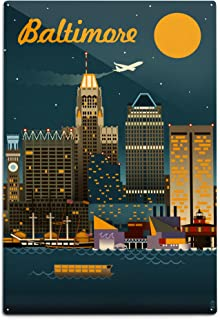 product image for Lantern Press Baltimore, Maryland - Retro Skyline 48010 (6x9 Aluminum Wall Sign, Wall Decor Ready to Hang)