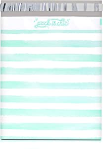 Pack It Chic - 10X13 (100 Pack) Teal Watercolor Stripes Poly Mailer Envelope Plastic Custom Mailing & Shipping Bags - Self Seal (More Designs Available)