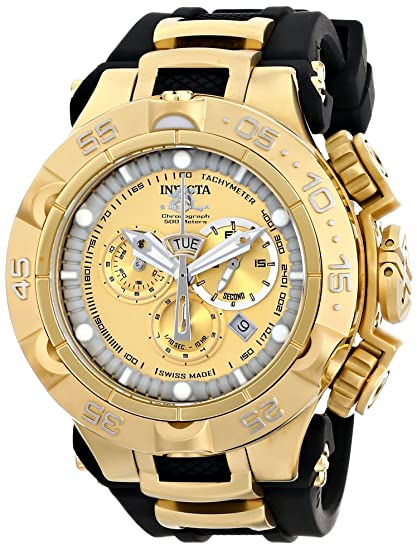 Invicta 15926 Mens Subaqua Chronograph Dive Gold Dial Black Rubber Strap Watch