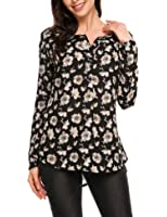 ANGVNS Women Casual Long Sleeve V Neck Floral Printed Loose Office Business Blouse Top