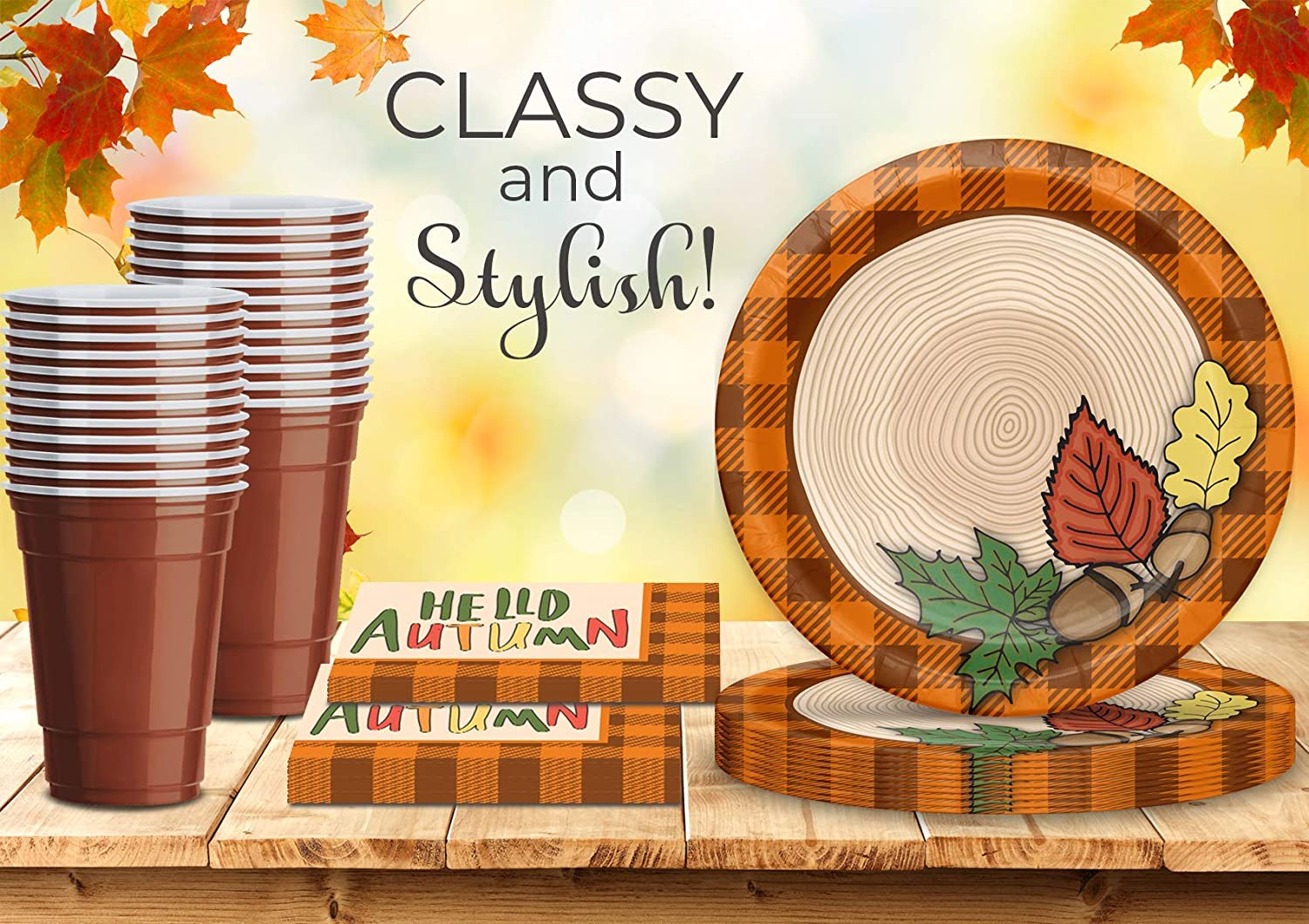 Great Thanksgiving Autumn Decorative Tableware Set and Decorations Paper Plates with Leaf design Brown Plastic Cups,Hello Autumn Napkins Fall Season Party Supplies for 32