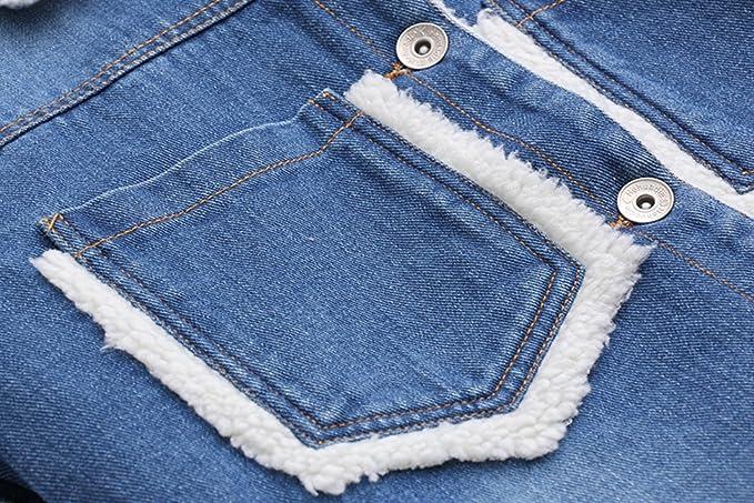 Aza Boutique Girls Vintage Style Color Block Lamb Cashmere Denim Jacket