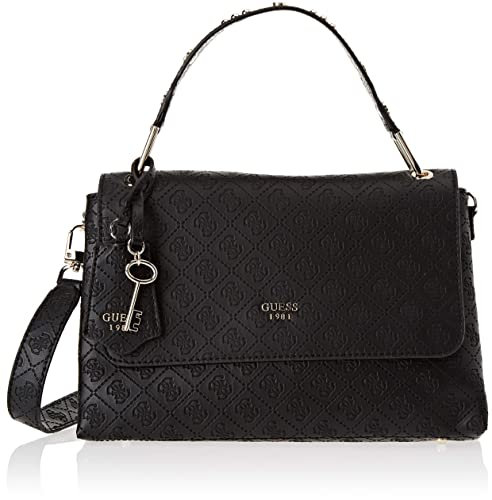 Guess Maddy Crossbody Flap, Borsa a Tracolla Donna, Nero