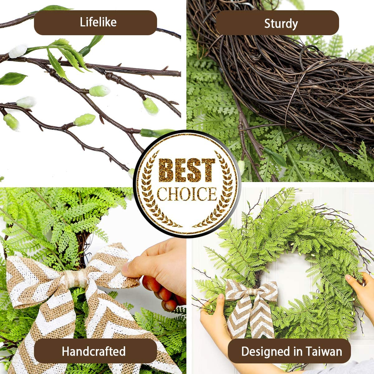 Artificial Handcrafted Green Wreath Fern Leaf for Decorations UNKENBO Door Wreaths for All Seasons 20 Front Door Wreaths for Spring and Summer Farmhouse Wreaths for Front Door Outside