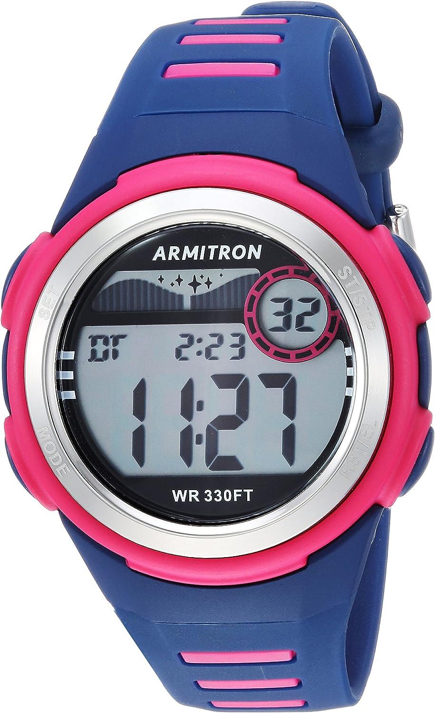 Armitron Sport 45/7069NVY - Reloj Digital con cronógrafo (Correa de Resina), Color Magenta y Azul Marino