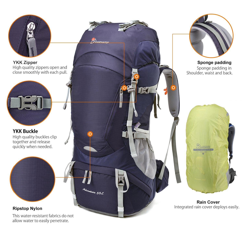 MOUNTAINTOP 50L 50L 50L 55L 605L Erwachsene Trekkingrucksäck Wanderrucksack Rucksack für Reisen Outdoor Klettern Camping mit Regenhülle B07CKN4X6M Trekkingruckscke Ein Gleichgewicht zwischen Zähigkeit und Härte 326412