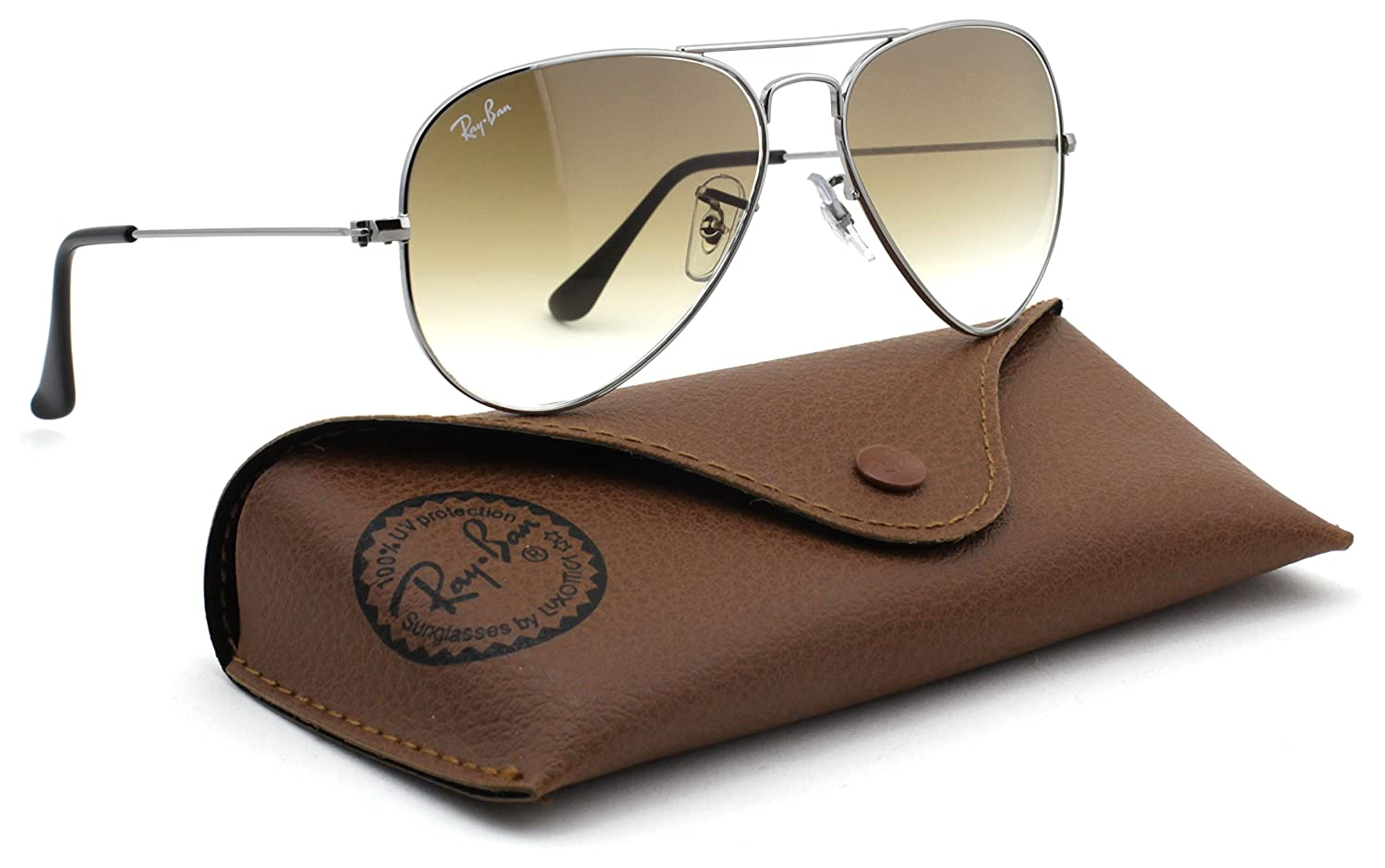 c4a3b53b3c Ray Ban 3025 Aviator RB3025 004 51 58mm gunmetal Frame with Brown Faded  Medium  Amazon.co.uk  Books