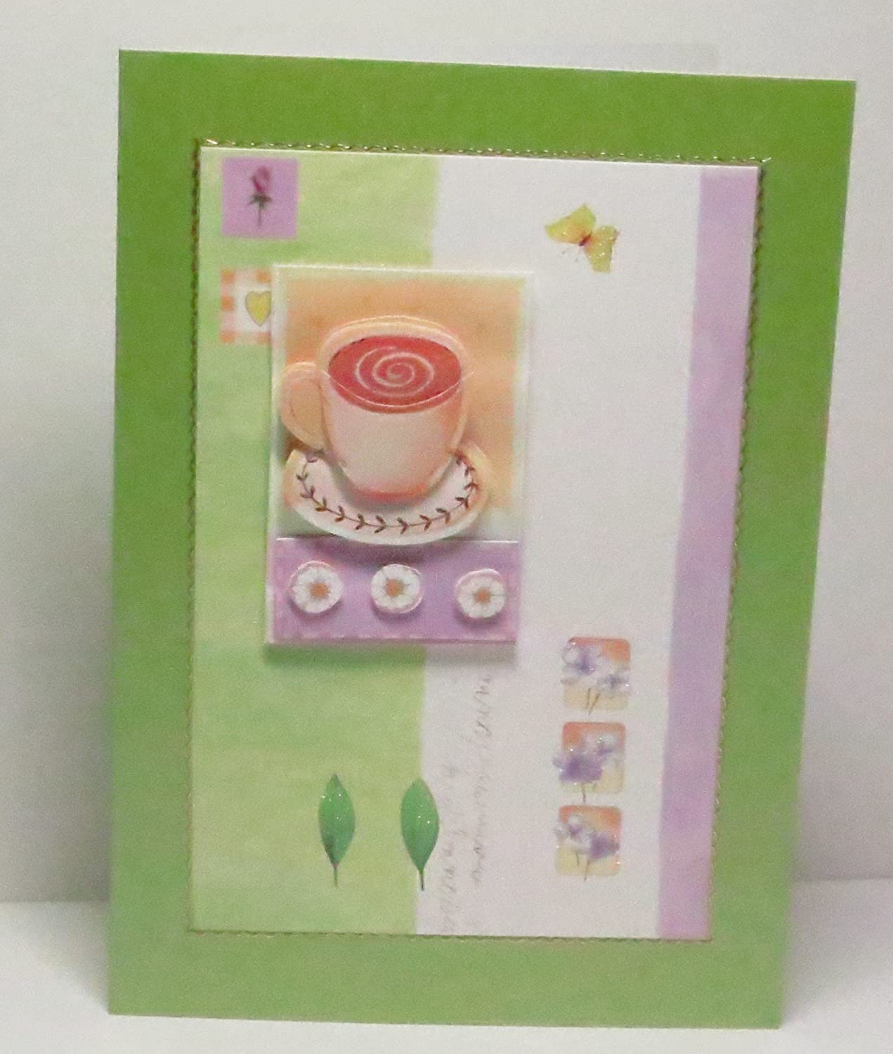 Limited Edition on Lime Green Pearlescent Base For Any Occasion Leaves /& Butterfly Blank Greeting Card with Glittered Highlights /& Gold Border Handmade 3D Cup of Tea with Flowers