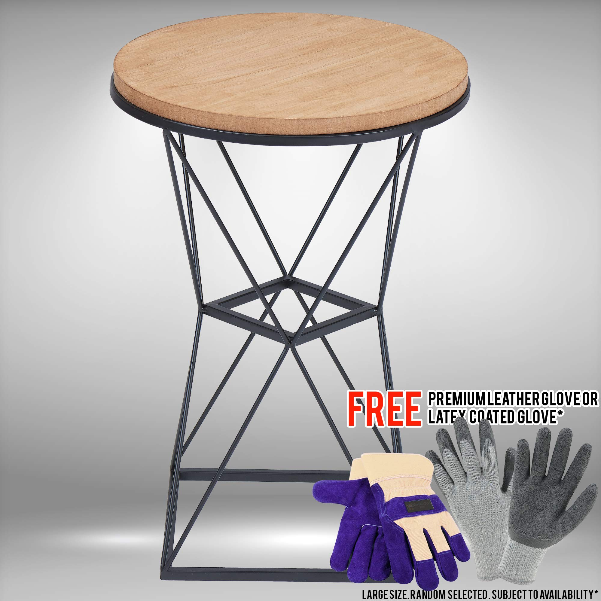 Geo Wire Wood and Metal Garden Stool Bundled with Free Premium Cowhide Leather Palm Gloves or Latex-Coated Gloves