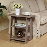 Ladder Chairside End Table Rustic Grey Oak By Home Concept - Set Newspapers, Coffee, or Books on this classic Design; Perfect for Living rooms or Reading nooks - Small, Grey 11450RG