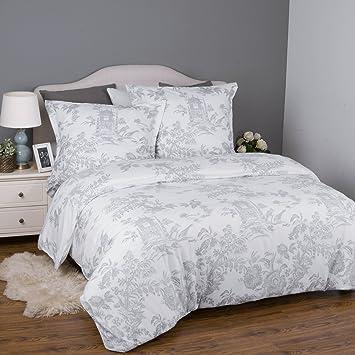 Bedsure Vintage Bettwäsche 135x200cm Weiß Grau Bettbezug Retro