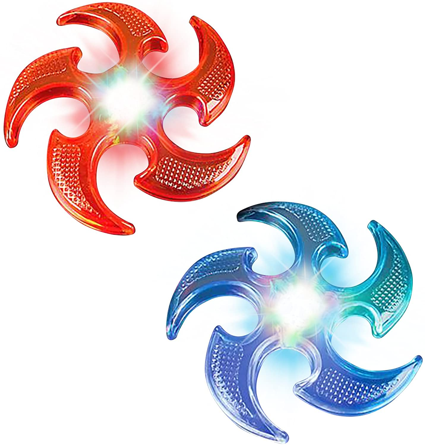 ArtCreativity Light Up Ninja Flyers Set - Pack of 2 - Ninja Star Flying Disc - Includes Batteries - One Red and One Blue - Fun Rubbery Summer Toy - Great Gift for Kids from Moms