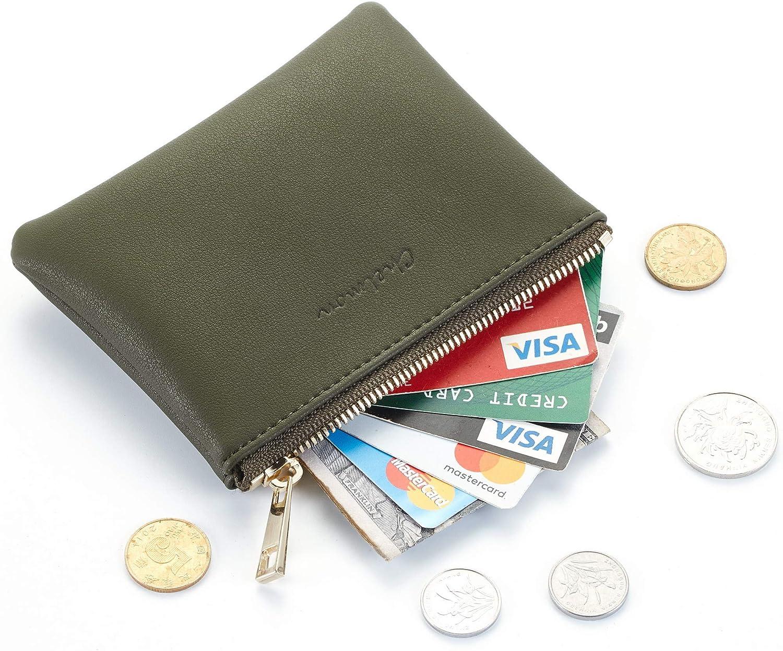 Chelmon Genuine Leather Coin Purse Pouch Change Purse With Zipper For Men Women