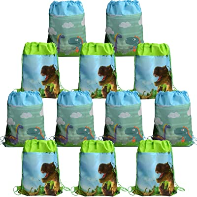 12 Dinosaur Draw String Pouch BACKPACK Bags, Dinosaur Party Bags, Dinosaur Goody Bags, Dinosaur Backpacks, Dinosaur Carry-on Backpacks, Dino Bags: Home Improvement