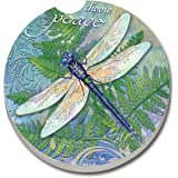 CounterArt Absorbent Stoneware Car Coaster, Dragonfly Inspiration