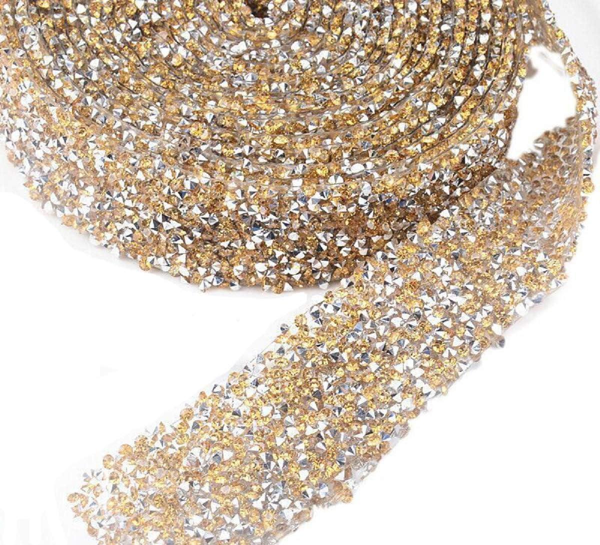 2pcs 5 Yards Crystal Rhinestones Mesh Wrap Chain Trim Ribbons Wedding Decor