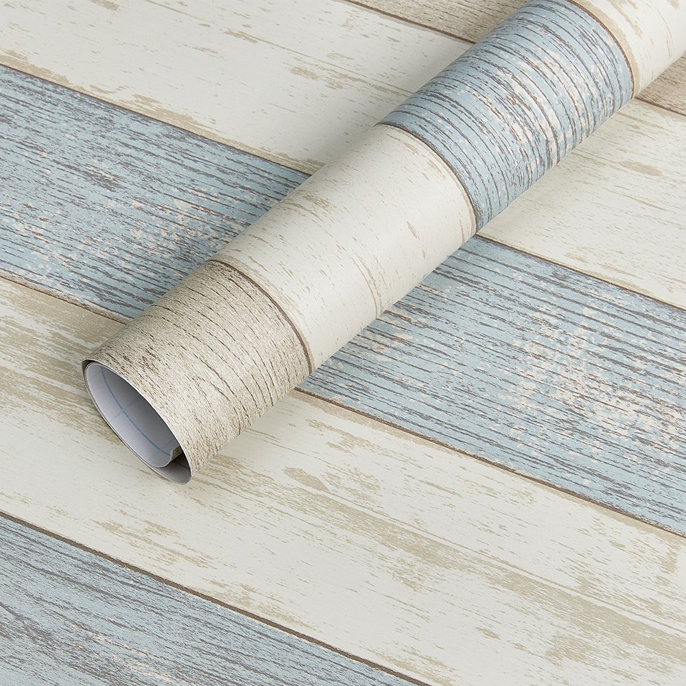 Homein Vinilo Pegatina Para Muebles Cocina Papel Decorativa Armario Diseño de Raya Azul PVC Material Para
