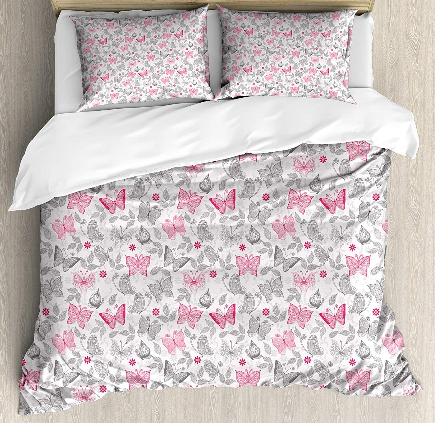 Multi 2 Twin Butterfly Duvet Cover Set Twin Size, Sketch Style Animals Leaves Abstract Nature Depiction Romantic Swirls Lines,Lightweight Microfiber Duvet Cover Sets, Grey Pink White