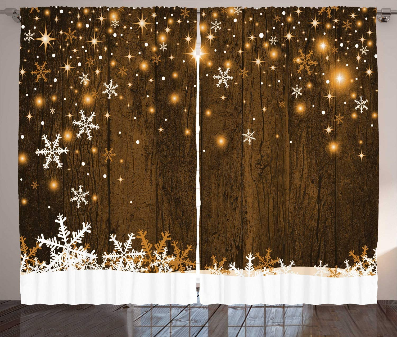 """Ambesonne Christmas Curtains, Rustic Wooden Backdrop with Snowflakes and Warm Traditional Celebration Print, Living Room Bedroom Window Drapes 2 Panel Set, 108"""" X 84"""", White Brown"""