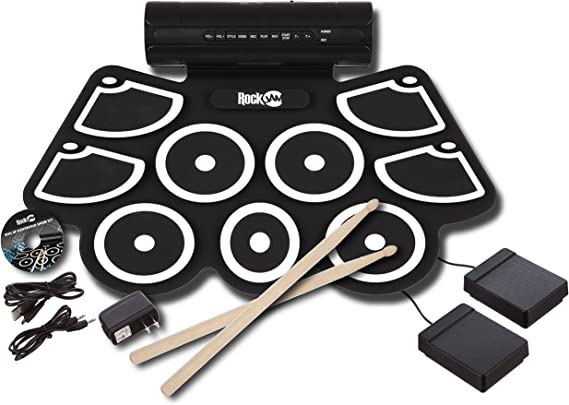 RockJam Portable MIDI Electronic Roll Up Drum Kit with Built in Speakers