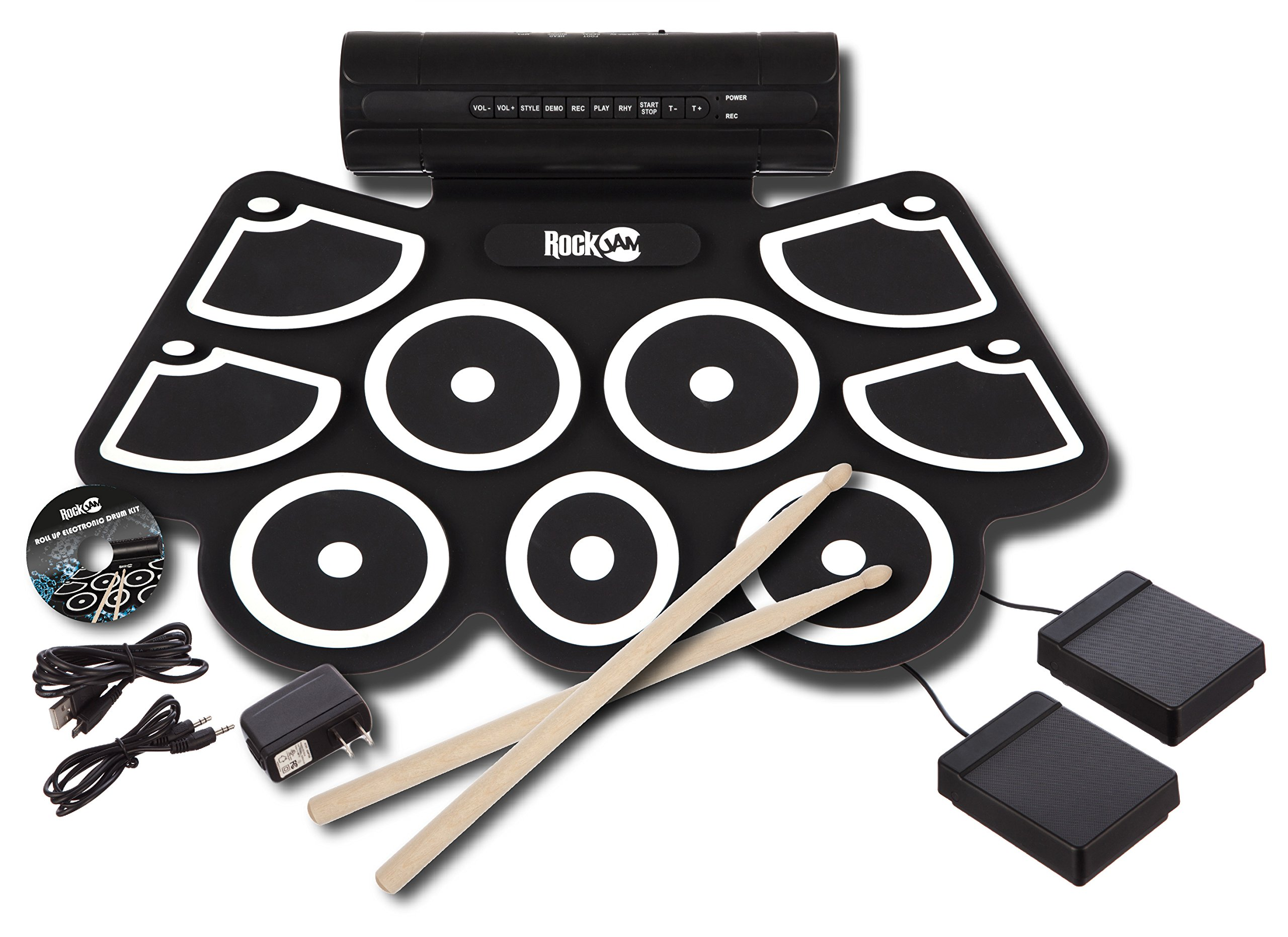 RockJam Portable MIDI Electronic Roll Up Drum Kit with Built in Speakers, Power Supply, Foot Pedals and Drumsticks by RockJam