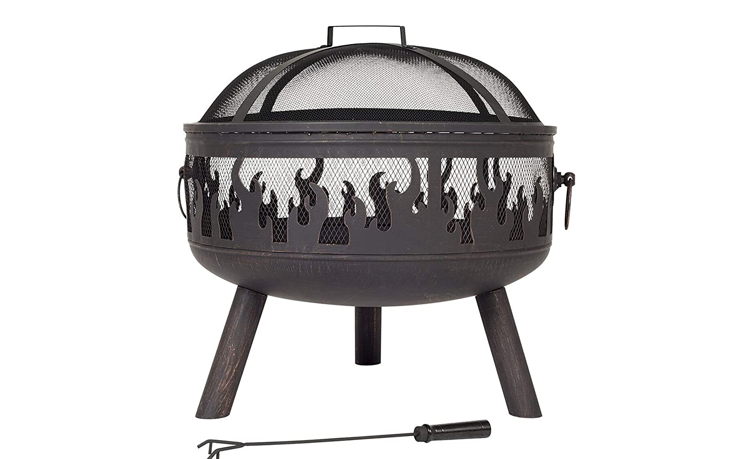 La Hacienda Wildfire Steel Firebowl with Bronze Finish & Spark Guard. Firepit