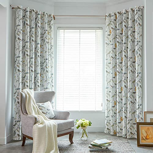 VOGOL Birds and Floral Printed Curtains Gray Blackout Window Treatment for Living Room, 52×96, One Panel, Top Grommet