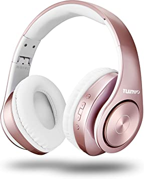 Amazon Com Bluetooth Headphones Wireless Tuinyo Over Ear Stereo Wireless Headset 35h Playtime With Deep Bass Soft Memory Protein Earmuffs Built In Mic Wired Mode Pc Cell Phones Tv Rose Gold Home Audio Theater